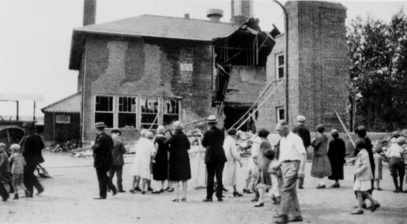 The backside of the school house after the explosion.
