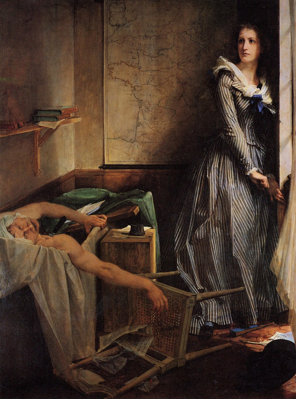 Depiction of Charlotte Corday's assassination of Jean-Paul Marat (Wikipedia)