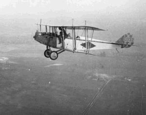 "A ""Jenny"" biplane over Ontario, Canada, c. 1918"