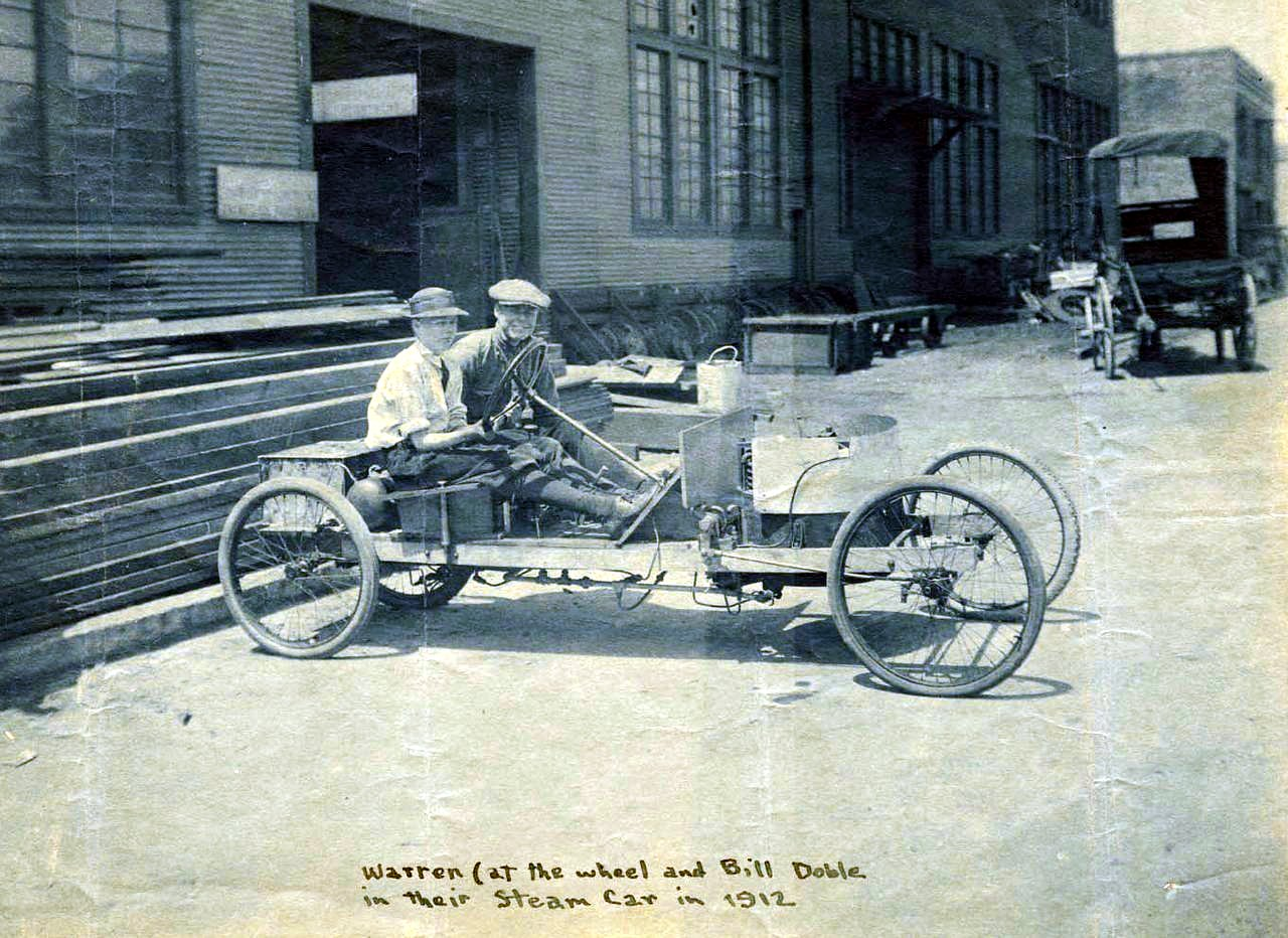 Warren and Bill Doble in their first steam car (1912)