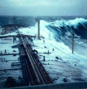 Giant waves breaking on the deck of the oil freighter Esso Languedoc