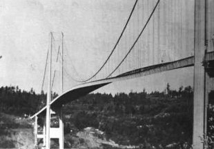 The twisted Tacoma Narrows Bridge