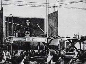 Illustration showing Tesla's demonstration of wireless electricity.