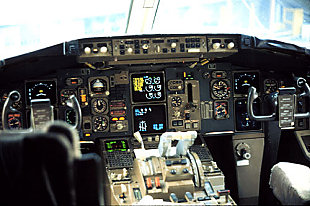 The cockpit of a typical Boeing 767