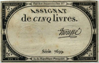 An 18th century five-livre note