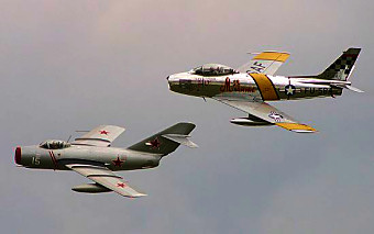 A MiG-15 and F-86, respectively.