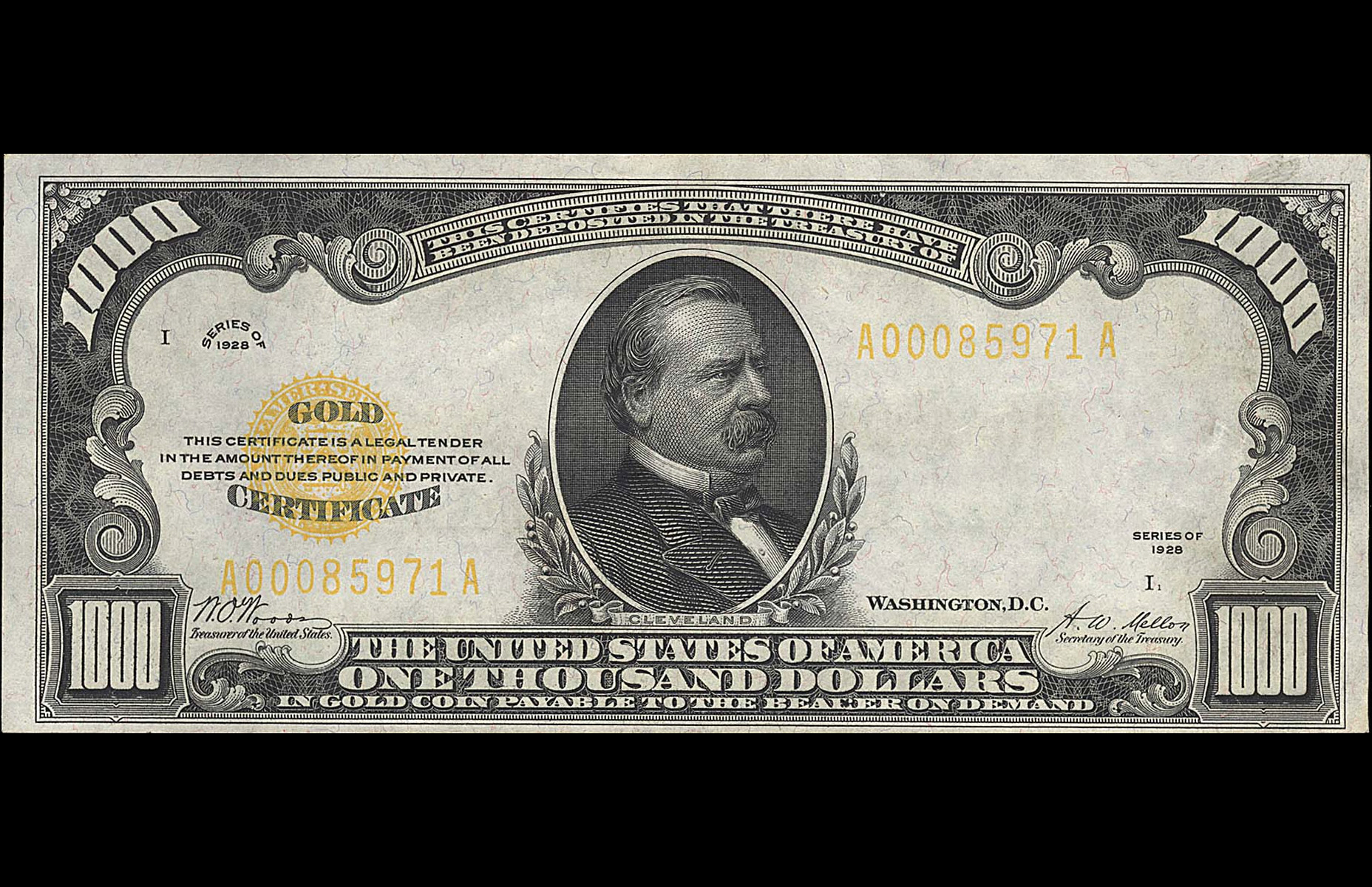 A United States gold certificate from 1928