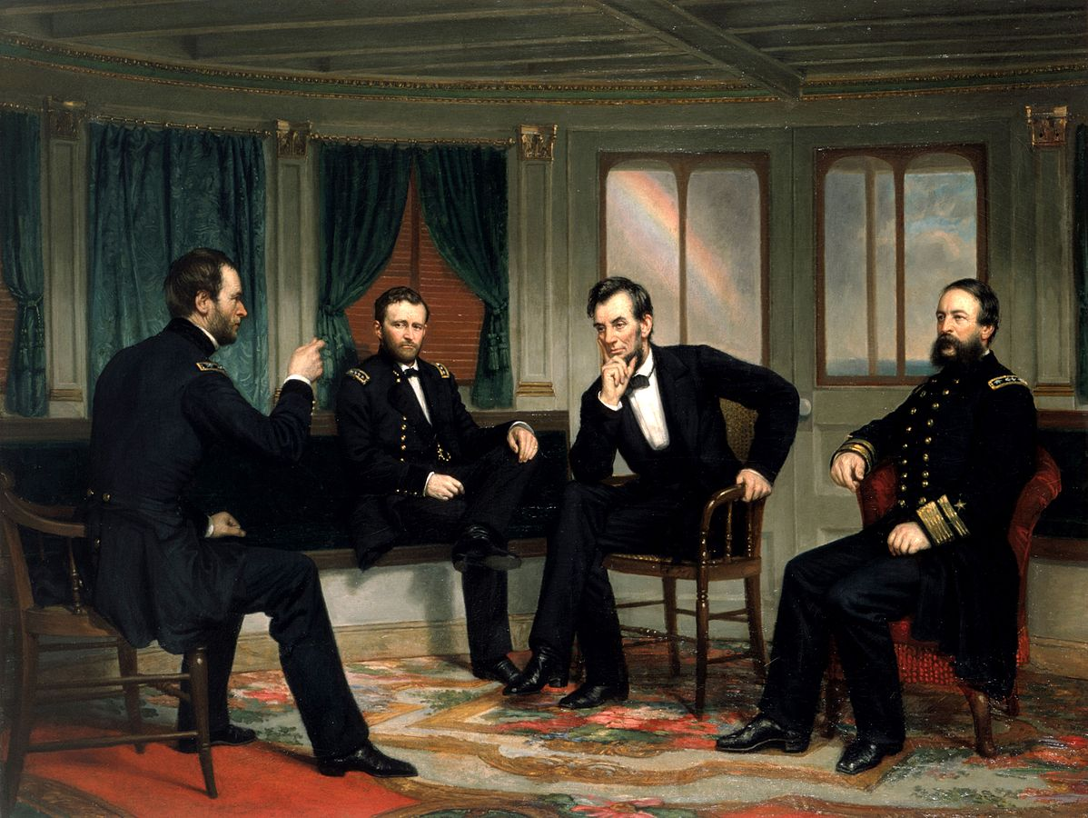 Grant (center left) depicted next to Lincoln, General Sherman (far left), and Admiral Porter (right)