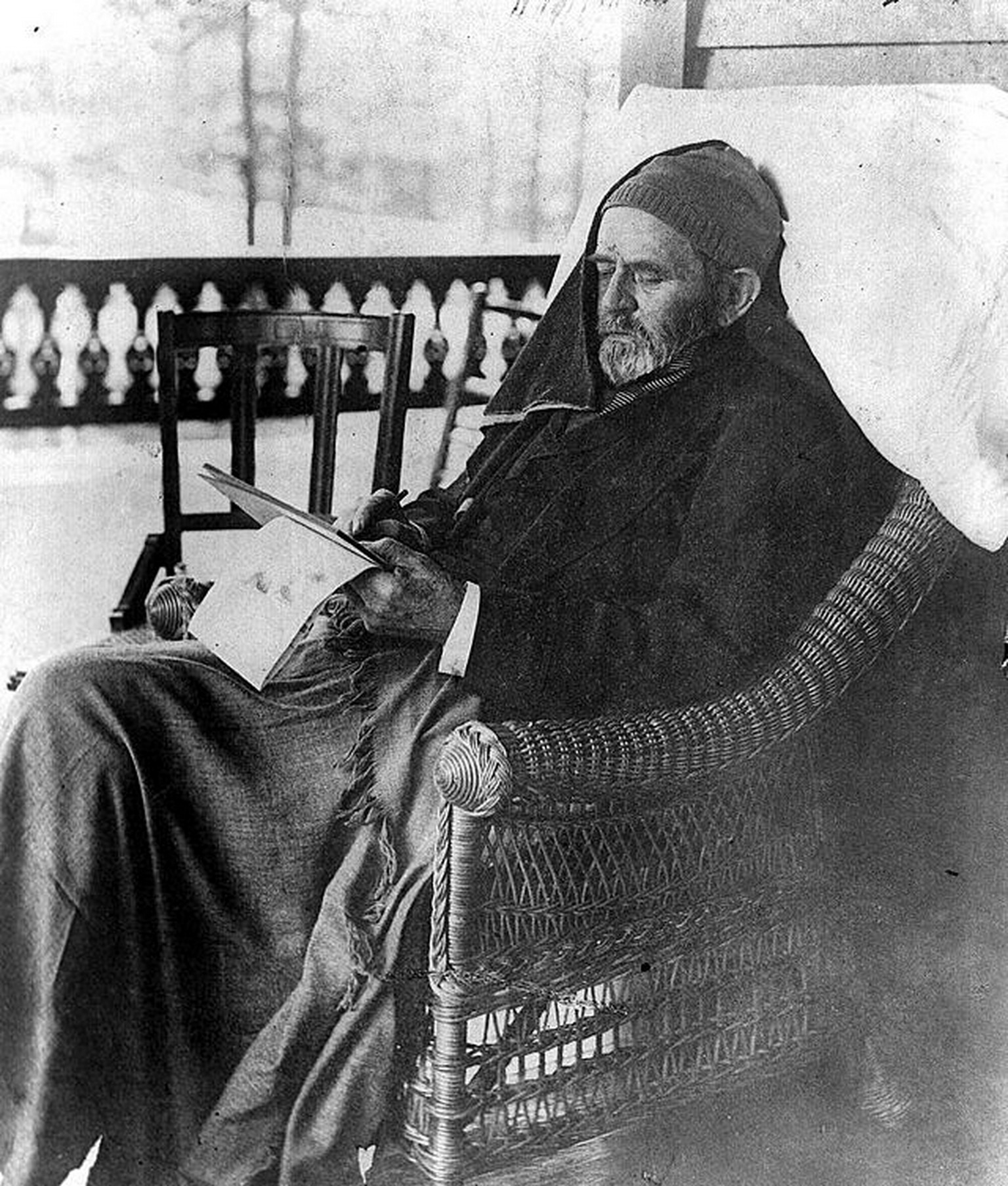 Grant writing his memoirs, days before his death