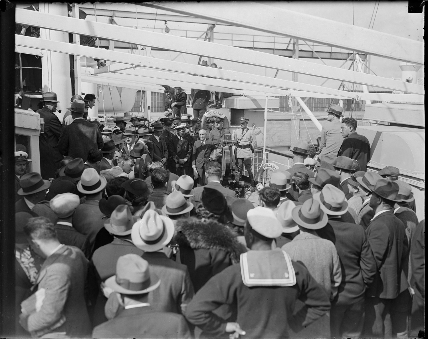 Charles Ponzi delivered to the SS Vulcania for Deportation, 1934